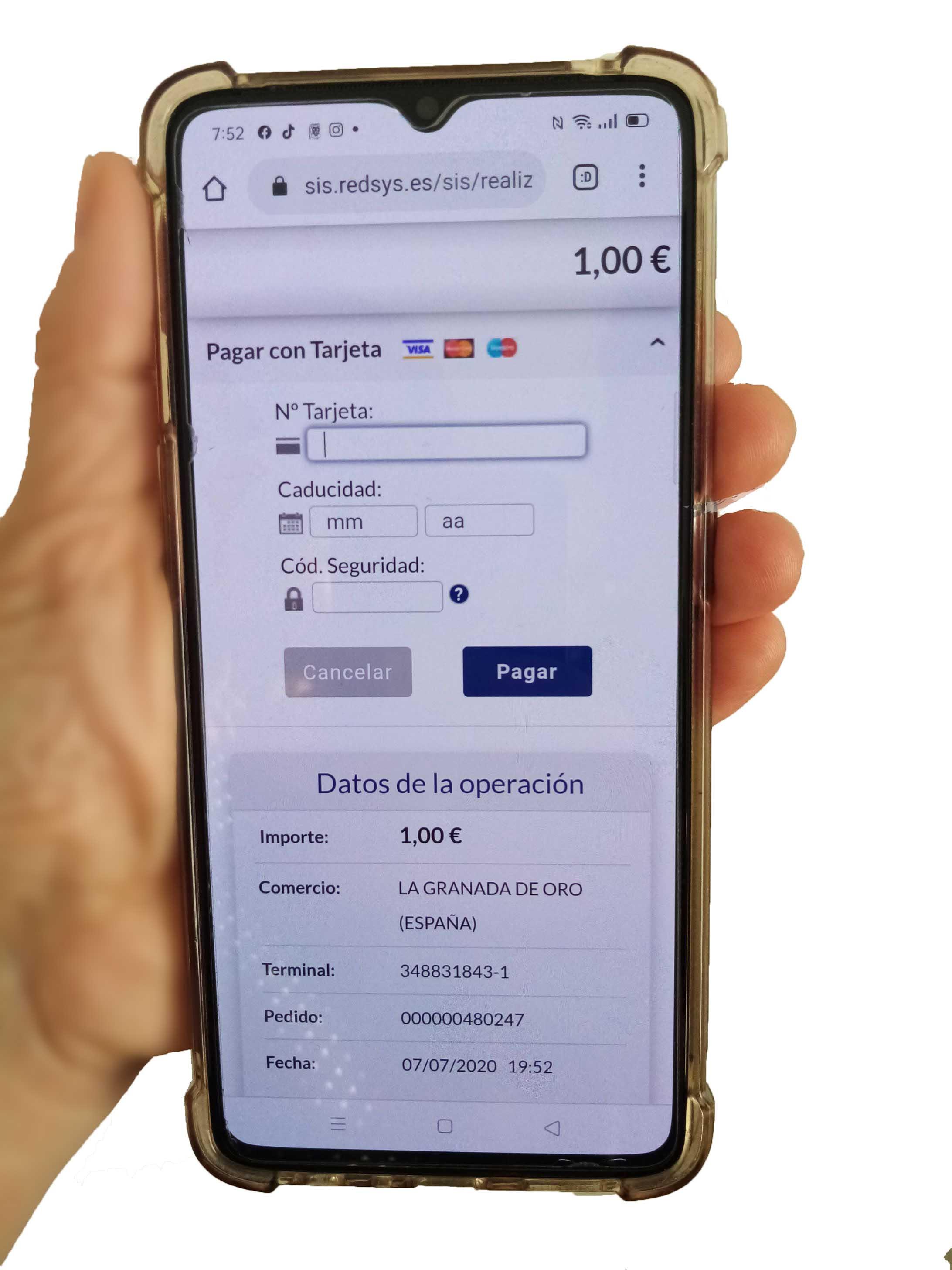 Pagar la loteria online con tarjeta del BBVA